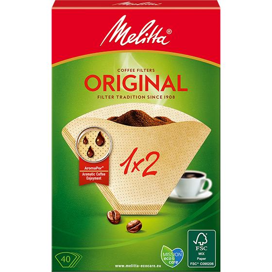 Melitta® kaffefilter Original, 1x2®, brun, 40 st.