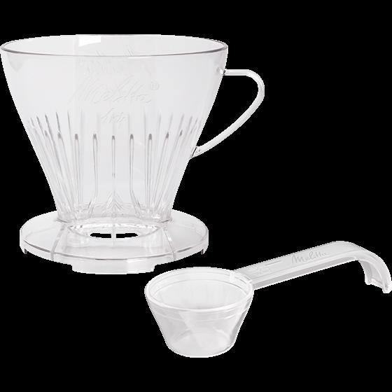 Kaffeefilter 1x4® transparent mit Kaffeedosierlöffel